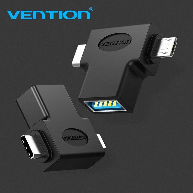 Chính Hãng Vention Loại C Adapter USB 3.0 OTG Cáp 2 Trong 1 Micro USB OTG Cho Xiaomi One plus Nexus 6P
