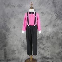 Abbyabbie.Li Boy Vest Long Sleeve blouse Suspender Trousers bow tie 4pcs Set Gentlemen Spring Children Suit 8 types Outfit