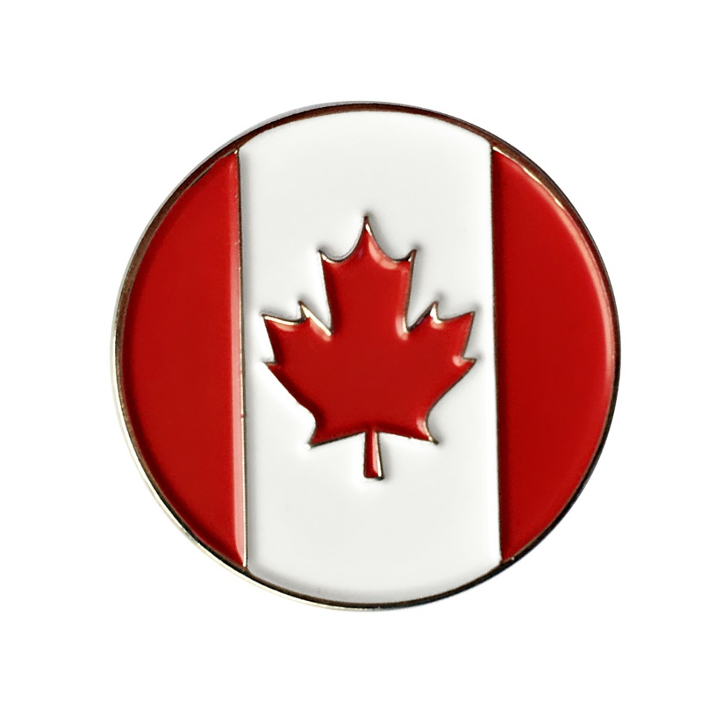 PINMEI Canadian Flag Metal Golf Ball Marks 24.4mm Diameter 5pcs Golf Markers Fit Magnetic Hat Clip/Cap Clip Or Divot Repair Tool