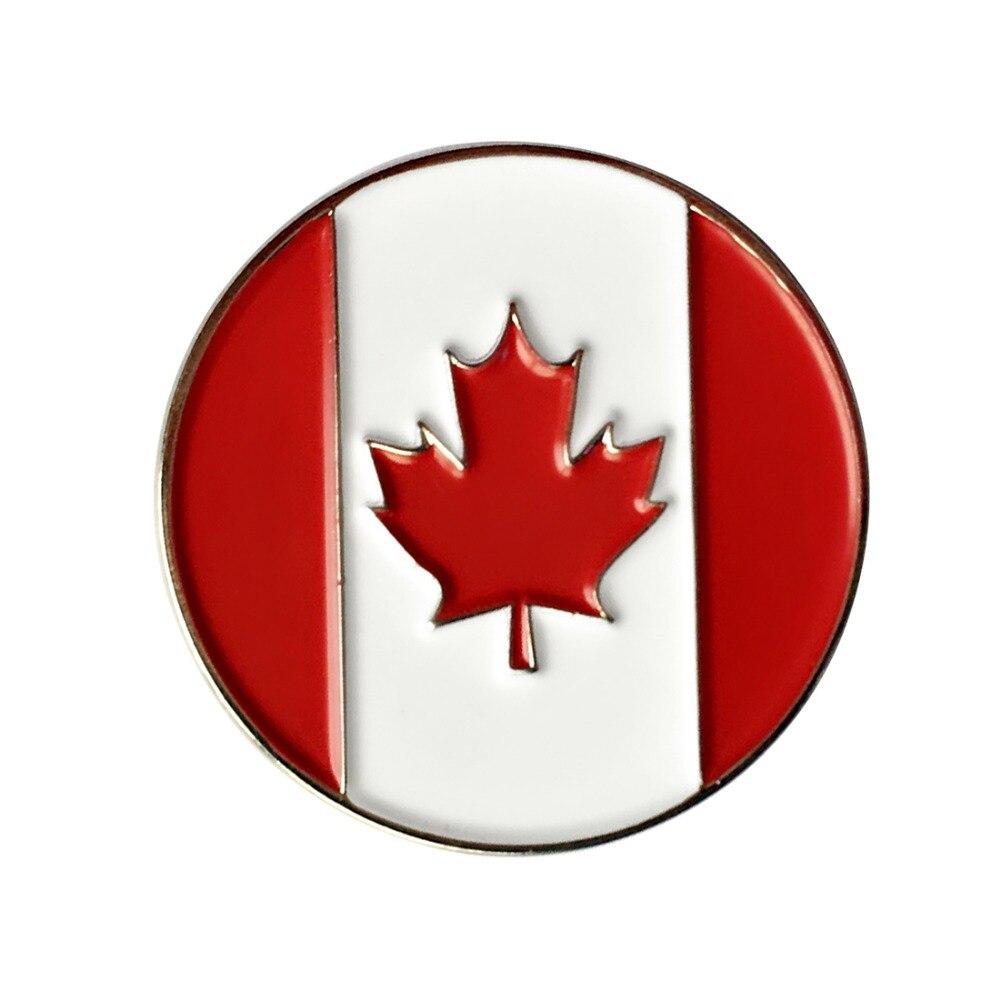 PINMEI kanada bayrağı Metal Golf topu işaretleri 24.4mm çap 5 adet Golf işaretleri Fit manyetik şapka iğnesi/kap klip veya çimen onarım aracı