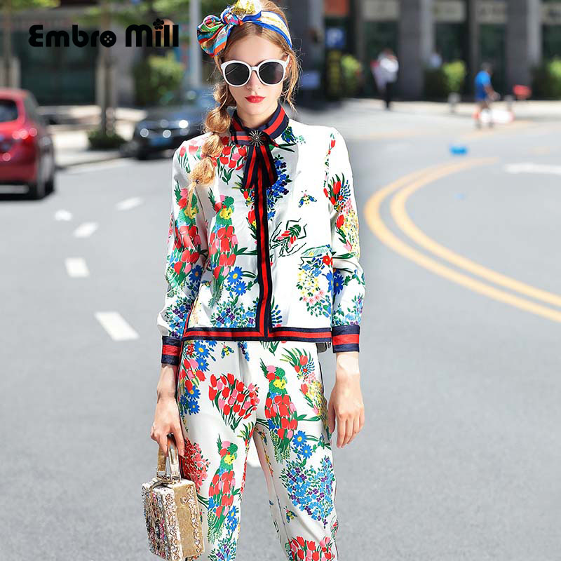 High end women floral women set set vintage print bow for High end fashion websites