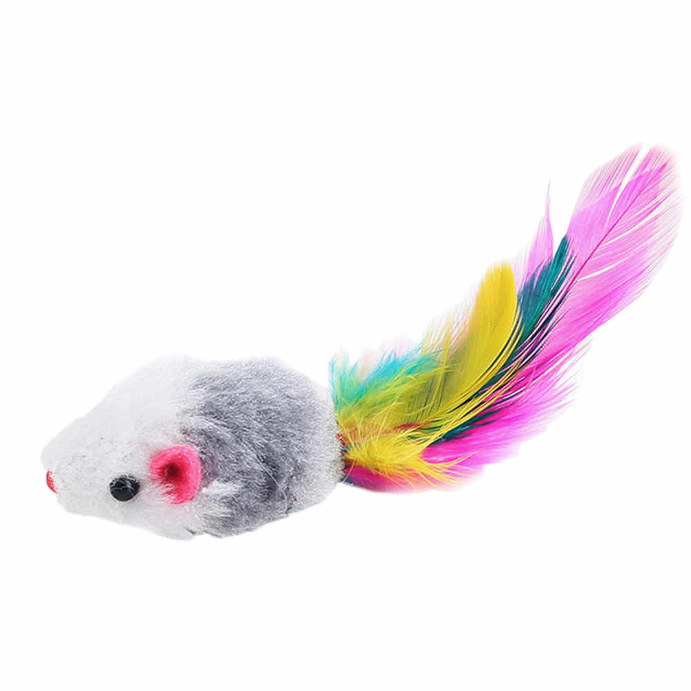 Cat Feather Toys Furry Mouse Cat Kitten Real Fur Gravel Sounds Cute Toy Faux Mice Cat Toys Brinquedo Gato #ZH