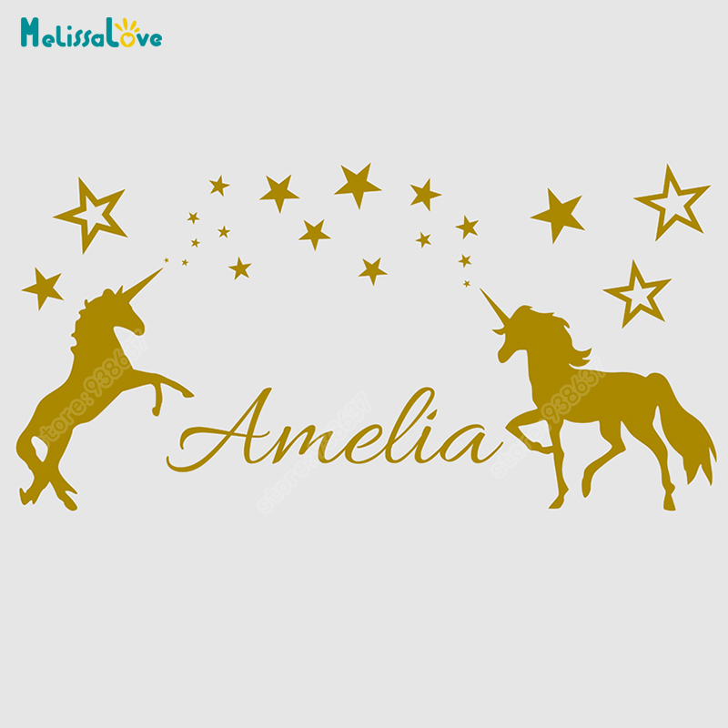 Personalised Two <font><b>Unicorn</b></font> Wall Decal Sticker Removable Vinyl <font><b>Decor</b></font> <font><b>bedroom</b></font> Custom Any Name DIY Wall Stickers for Girls Room B836 image