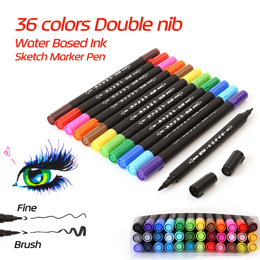 все цены на Water Based Ink Twin Tip Sketch Marker Pen Brushand Fine Tip Art Graphic Drawing Manga brush Pen Dual tip Art marker for Drawing