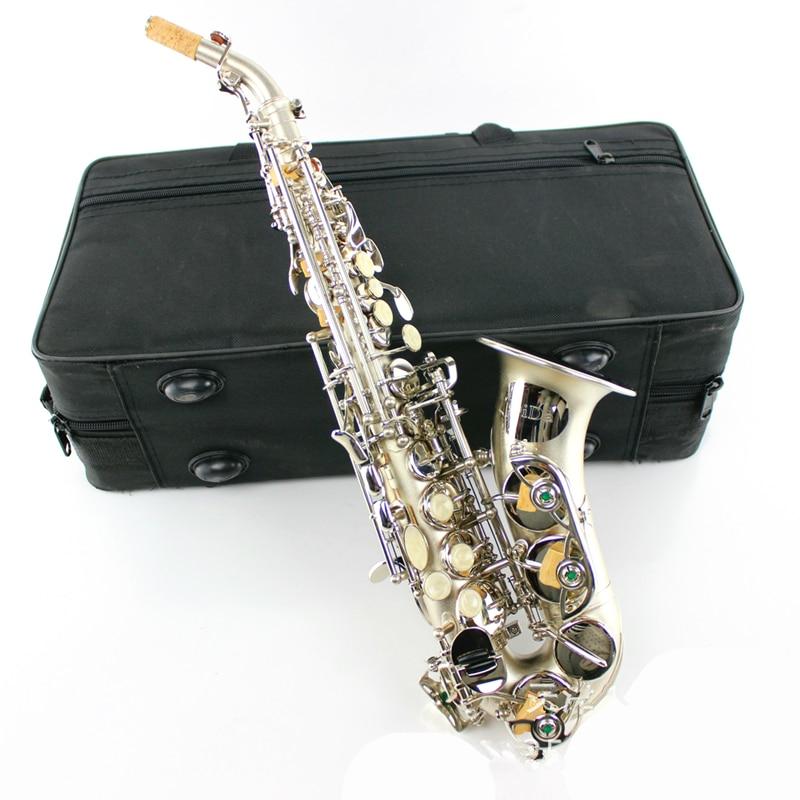Soprano sax Saxophone Bb elbow pipe Wind Instrument Silver Sax Western Instruments saxofone Musical Instruments saxophone