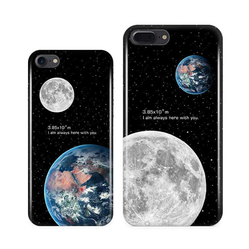 The New Fashion Universe Star Earth Moon Eclipse Text Silicone soft cover For iphone 6 6S 7 Plus Phone Back cases Accessory