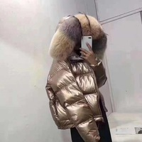 Winter glossy fabric golden silver big real Fox fur collar hooded down coat female two face wear hooded warm down parkas wq631