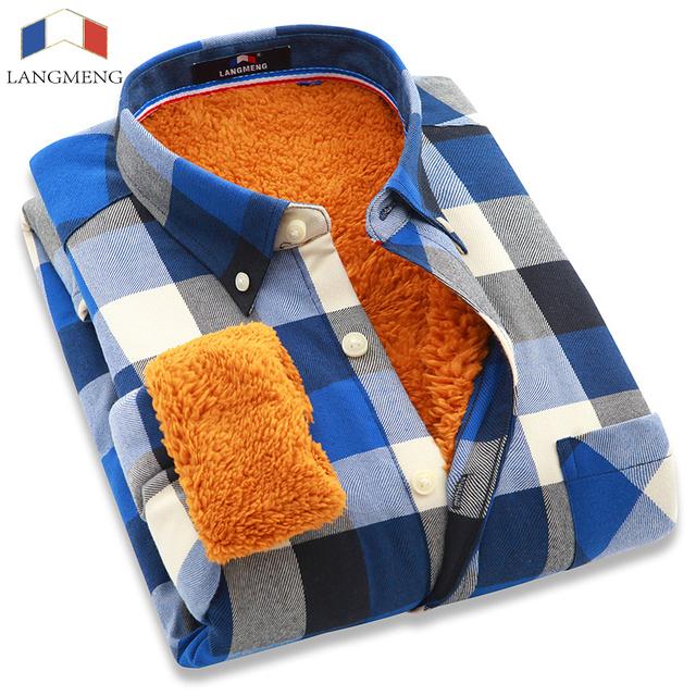 Langmeng 2016 nuevos hombres camisa de franela camisa a cuadros vestido de moda térmica de invierno caliente outwear camisas a cuadros de manga larga 24 colores