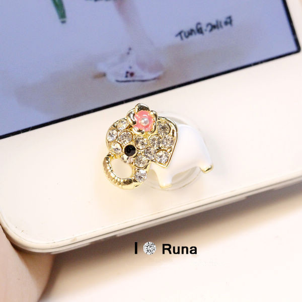 Min 3pcs mixed super cute lucky elephant home button stickers for iphone diy phone decoration jewelry