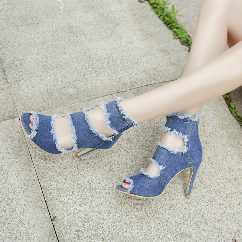 Summer new sandals fish mouth fine with Roman women 39 s shoes fashion super high with 10CM sandals back zipper hole denim sandals in Women 39 s Pumps from Shoes