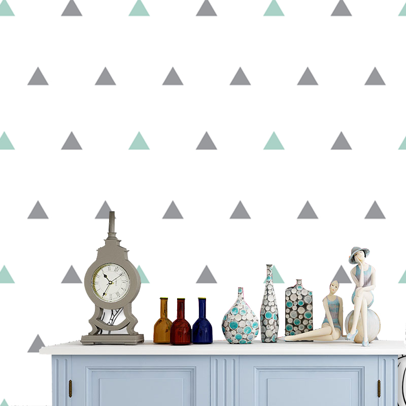 Discount Simple and Pure Triangle Geometric Wallpaper on the Wall for Kids Room Nusery Room Living Room Home Decor Free Shipping the strokes the strokes room on fire