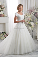 Free Shipping 2014 Modest Wedding Dresses Princess Top Lace Organza High Back Bridal Gown Short Sleeves