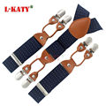Genuine Leather Navy Blue Print Business Suspenders Male Elastic 6 clip-on Party Jacquard Braces Y-back Styles 115*3.5cm MBD8636