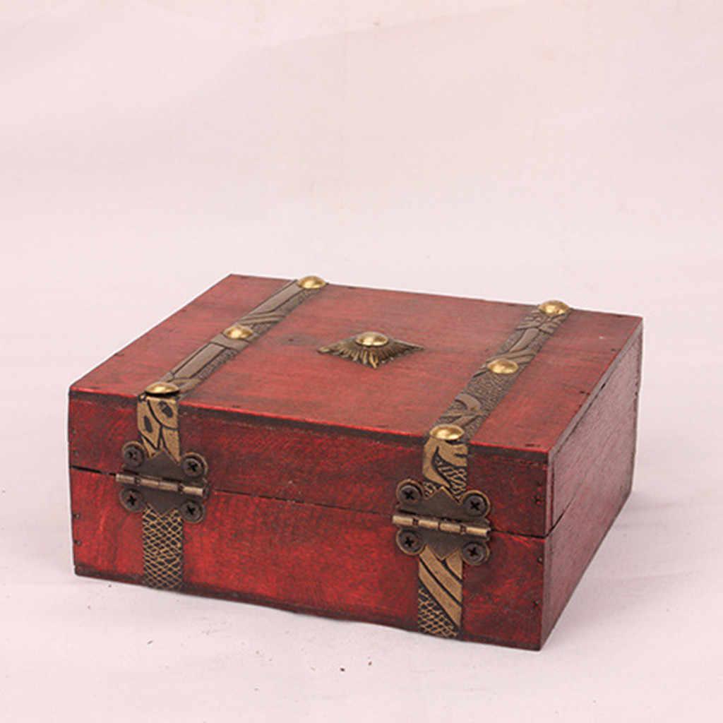 Joyero Vintage de madera, caja hecha a mano con Mini cerradura de Metal para almacenar joyas, Perla del Tesoro, expositor, soporte, joyería, tienda, nuevo