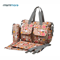 mommore 5pcs Diaper Bag Deluxe Designer Nappy Bag Changing Pad Mother Tote Bags Mummy Handbags Waterproof Baby Stroller Bag