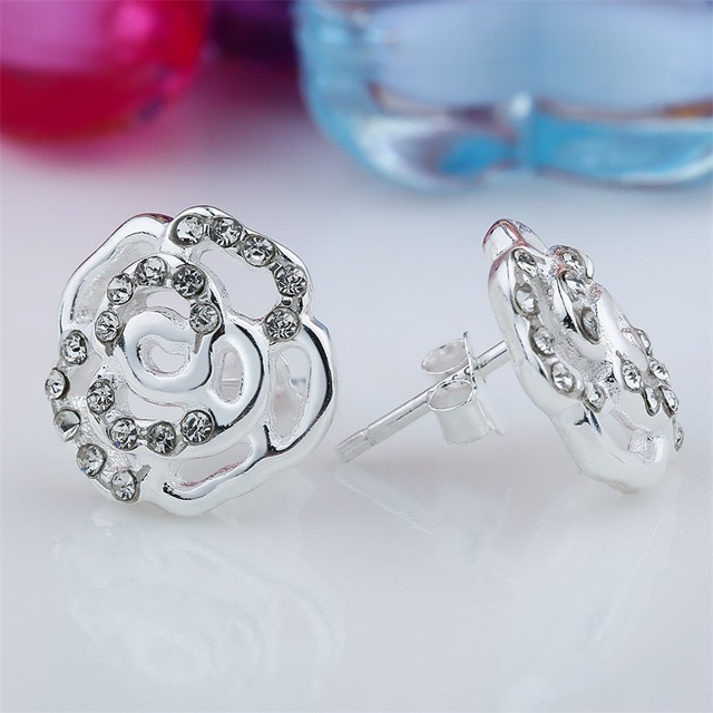 100% 925 Sterling Silber Ohrstecker Weiße Kristall Blume Ohrringe ...