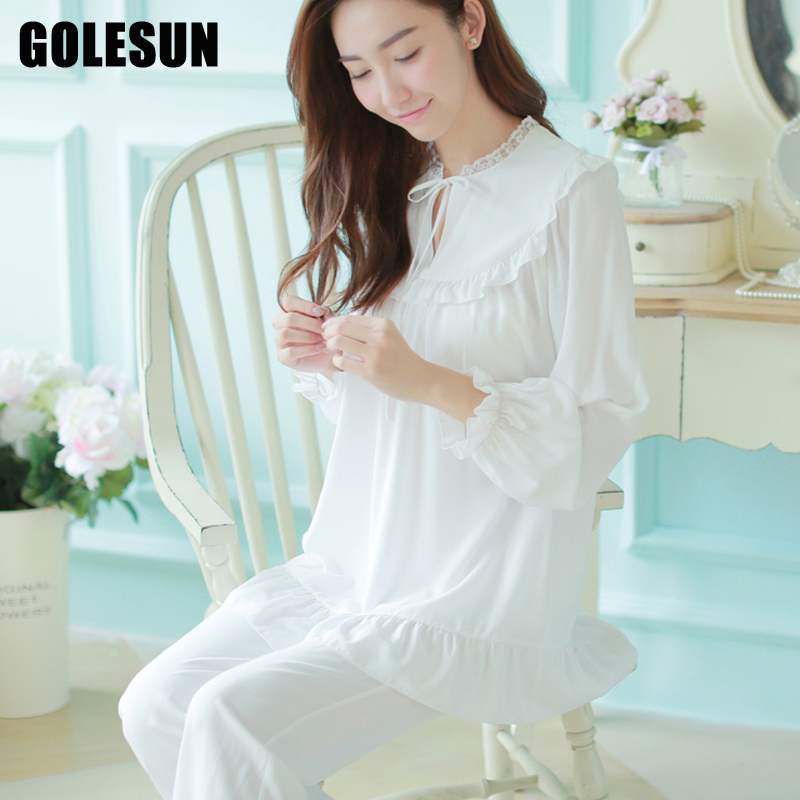 women vintage lovely princess sleepwear royal sleepwear lounge night pajamas tops and pants sets
