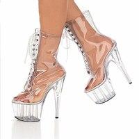 Ботильоны Женская обувь на платформе Модные прозрачные ботинки из ПВХ на высоком каблуке 15 см Красивая Женская обувь больших размеров 46