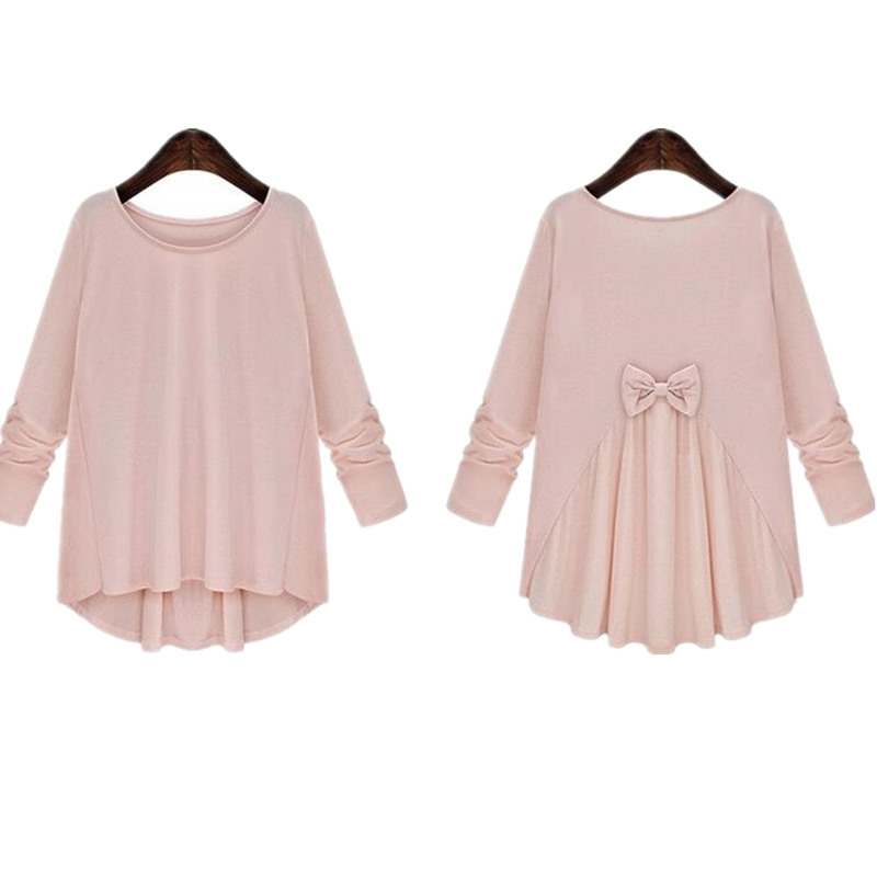 L-5XL Plus Size Shirts Maternity Blouse Long-sleeved Bow Top