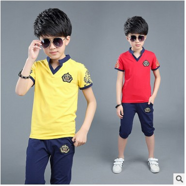 Retail Kids boys short-sleeved suit 2017 new summer children's cotton casual T-shirt big virgin shorts boys clothes 3-15 years цена 2016
