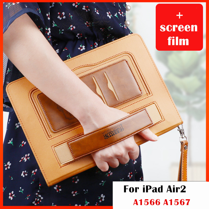 Case for iPad Air 2,Premium PU Leather Business Folio Pocket Strap Auto Wake Smart Cover case for iPad Air2 9.7inches tablet brand new case cover for apple ipad air 2 ipad 6 2014 pu leather flip smart stand case two folding folio cases for ipad air 2