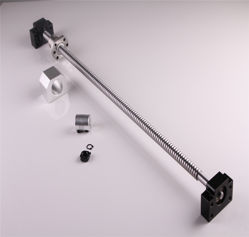 Fin Machine Vis À Billes 1605 1050mm Vis À Billes avec Ballnut Logement + Arbre Coupleur et BK/BF12 Support D'extrémité CNC pièces