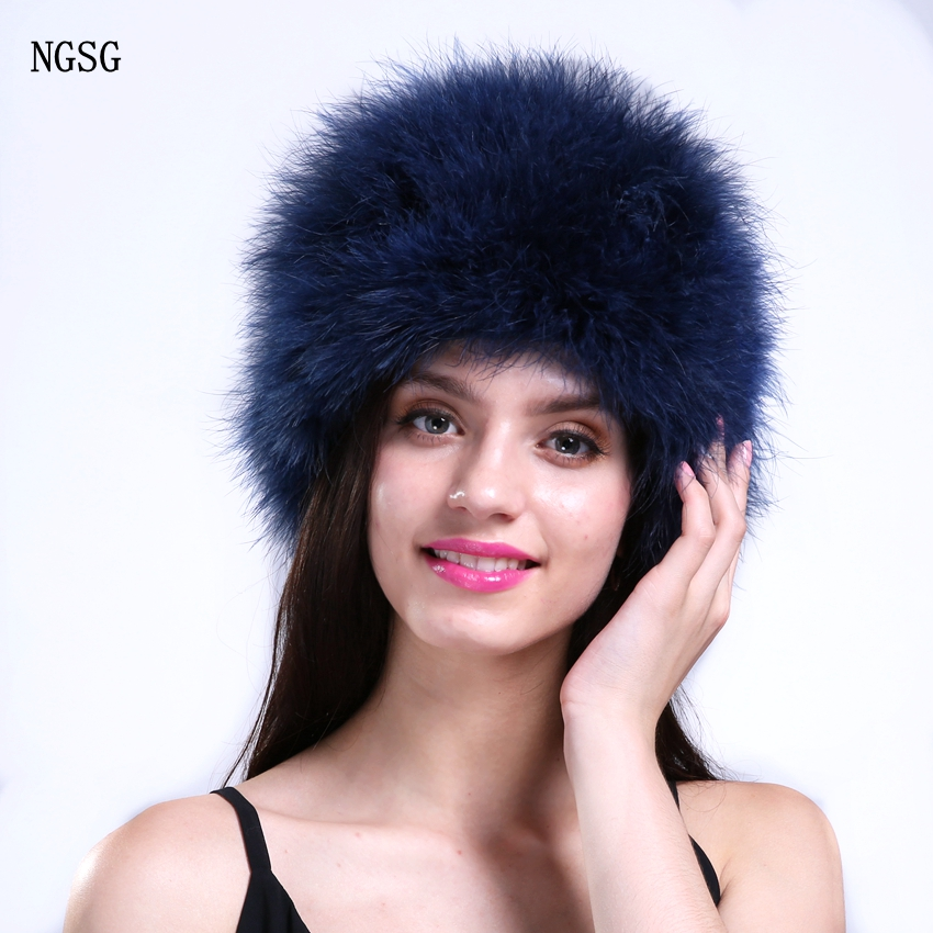 NGSG Natural feather thin fur hats for women fashion spring skullies beanies winter blue cap cute pompoms colors autumn hat lady