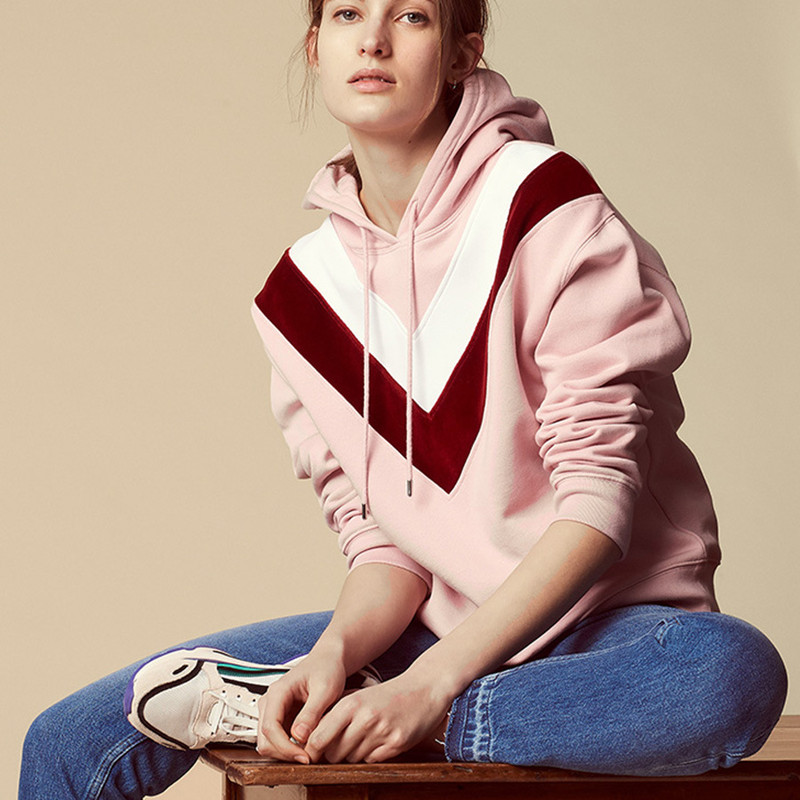 Women Sweet Cute Pink Hooded Hoodie Autumn Winter Patchwork Long Sleeve French Sweatshirt