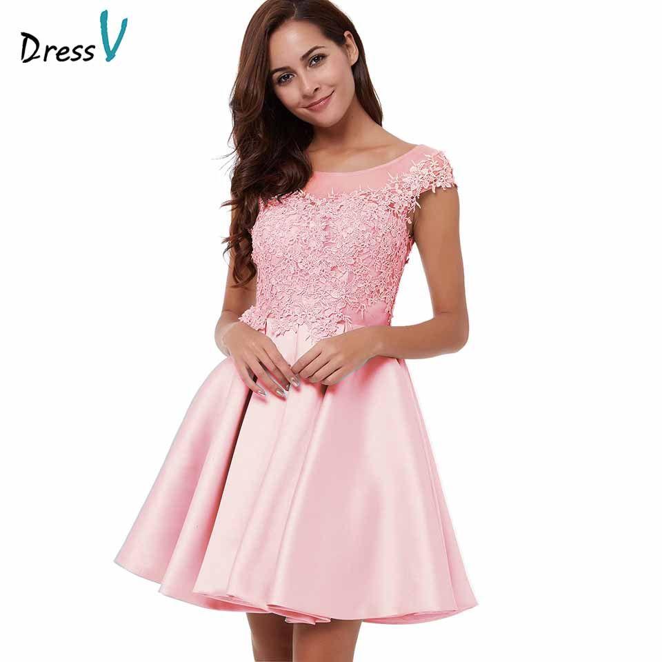 Tienda Online Vestidos de Cóctel Rosa gasa Vestido corto elegante ...