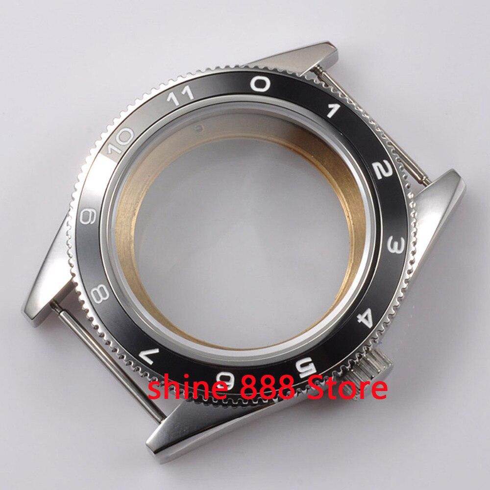 41mm black ceramic bezel sapphire cystal Watch Case fit ETA 2824 2836 MOVEMENT