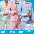 Moda Personalizado Dos Homens do algodão de linho ternos jaqueta + calça + colete cores Doces Blazers dos homens vestido de casamento do noivo profissional vestido