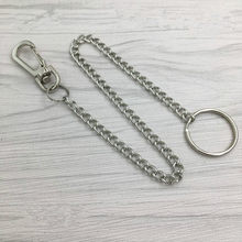Hot Sale20cm Long Metal Belt Chain Rock Punk Trousers Hipster Pant Jean Keychain Silver Ring Clip Keyring Unisex Jewelry(China)