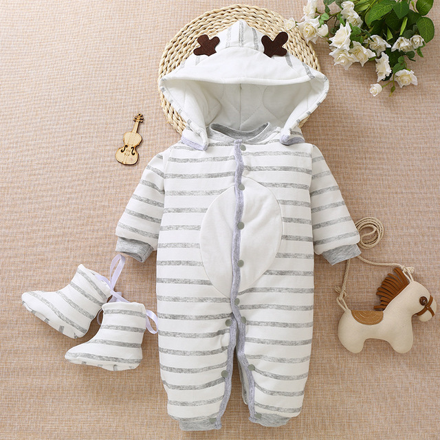 High Quality Baby Romper Winter Newborn Warm Hoodies Clothes Baby Boy Snowsuit For Bebe Girls Cotton Jumpsuit Outfits Clothing