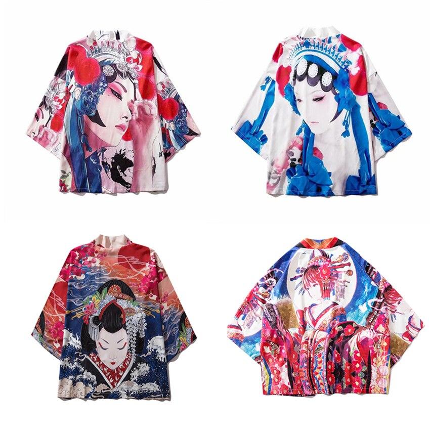 Unisex Kimono Cardigan Japanese Traditional Style Summer Sunscreen Cost Anime Peking Opera Printed Oriental Clothes Haori