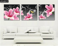 Crystal Home Decor 5d DIY Diamond Painting Triptych Floral Red Orchid Pink Flowers Cross Stitch Pattern