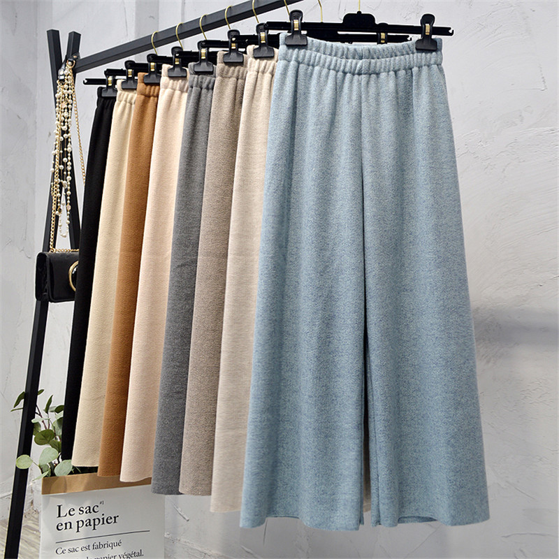 Women Sweater   Wide     Leg     Pants   Autumn Winter Elastic High Waist Thick Knitted   Pants   Female Long Trousers Casual Loose   Pants   AB1198