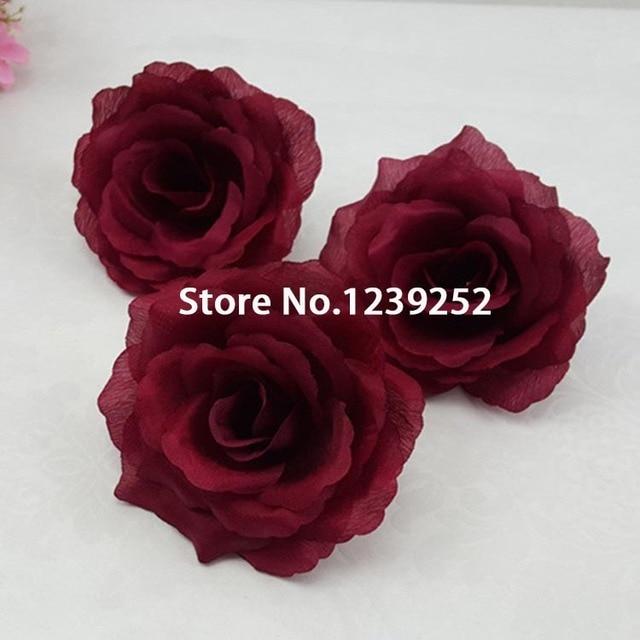 New 50pcs 10cm Big Artificial Rose Silk Flower Heads For Diy Wedding