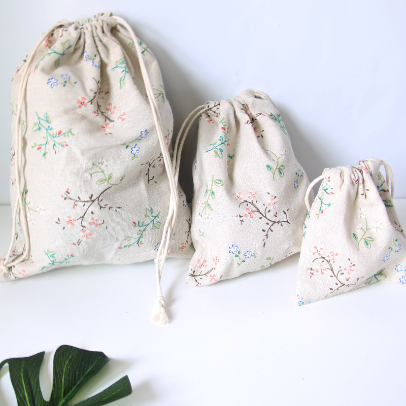 YILE Mini Rural Flower Cotton Linen Drawstring Organized Pouch Cosmetic Bag Natural Color 8614K