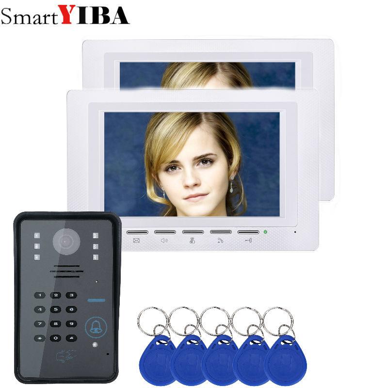 SmartYIBA Vision nocturne interphone visuel filaire Code de contrôle d'accès RFID clavier pour la maison carte d'identité visiophone 7