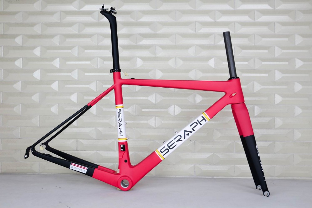 T1000 seraph Road Bike Carbon Fiber Stiff Racing Bicycle Frame+Fork+Seat Post+Clamp Frameset , accept paint carbon frame 2018 carbon track frame carbon fiber fixed gear bike frame carbon racing tracking bike frameset 49 51 54cm with fork seatpost