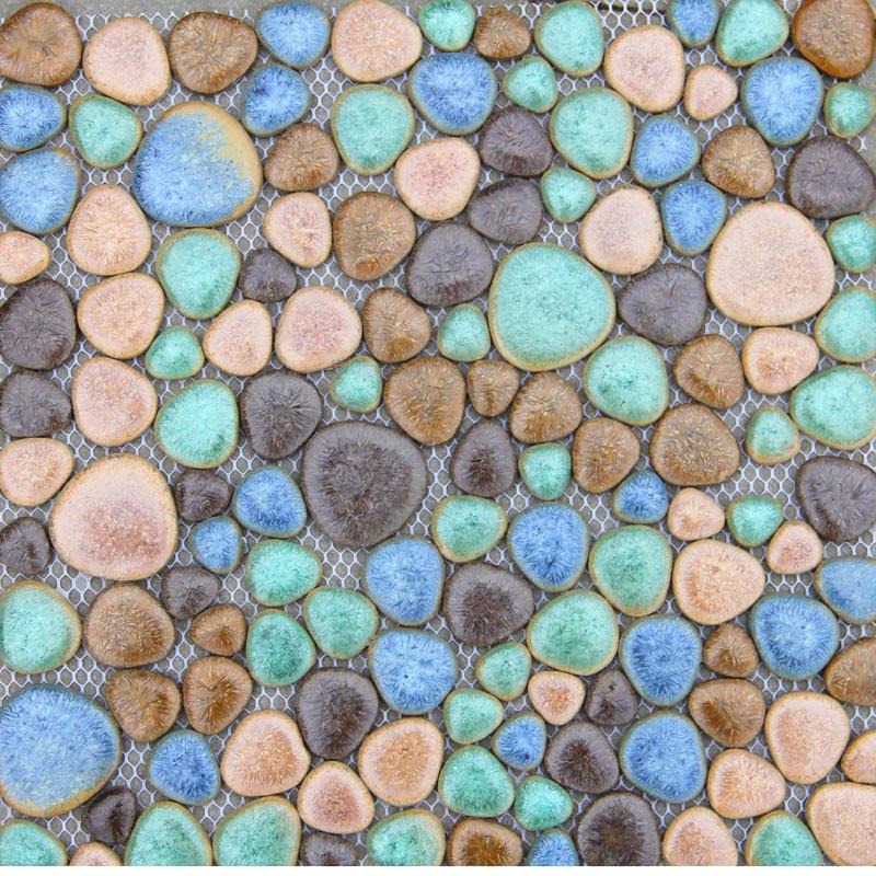 Fashion colorful ceramic pebble mosaic tile kitchen backsplash tile bathroom swimming pool wall background tiles shower indoor