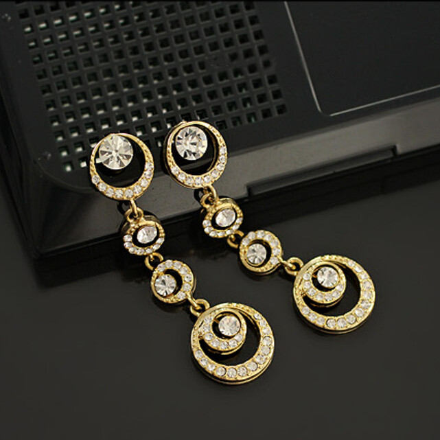 Oriental beauty bridal accessories Korean jewelry full circle imitation earrings 8ED45