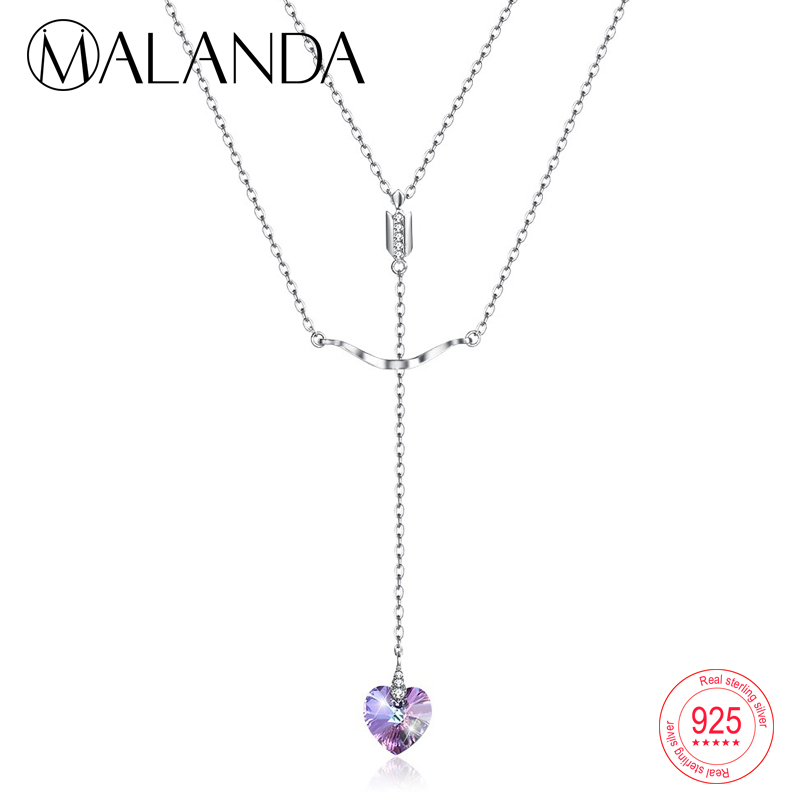 MALANDA Crystal From Swarovski Arrow Heart Pendant Necklace For Women 925 Sterling Silver Double Chain Necklaces Fashion Jewelry a suit of chic heart arrow necklaces for lover