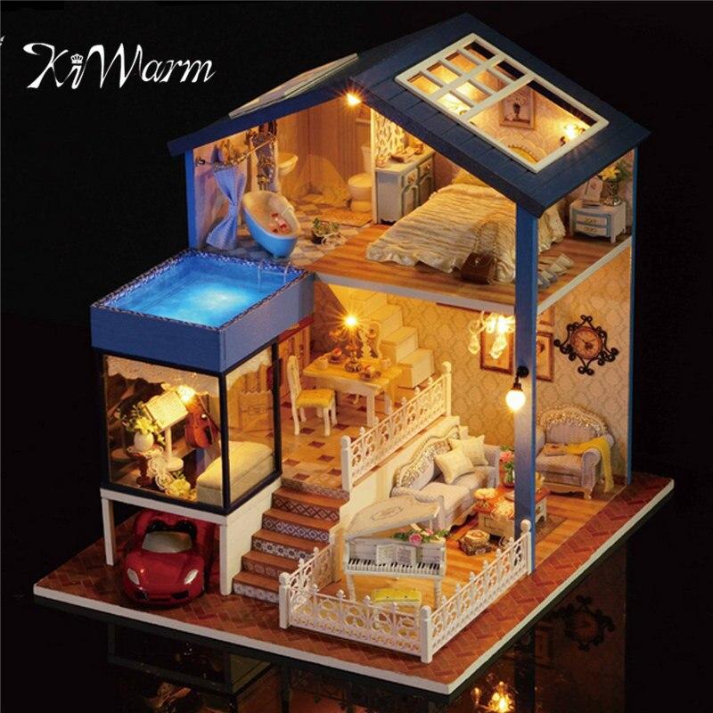 Новый kiwarm модные деревянный Собранный коттедж кукольный домик миниатюра с Мебель свет дома номер Подарочный Набор DIY орнамент