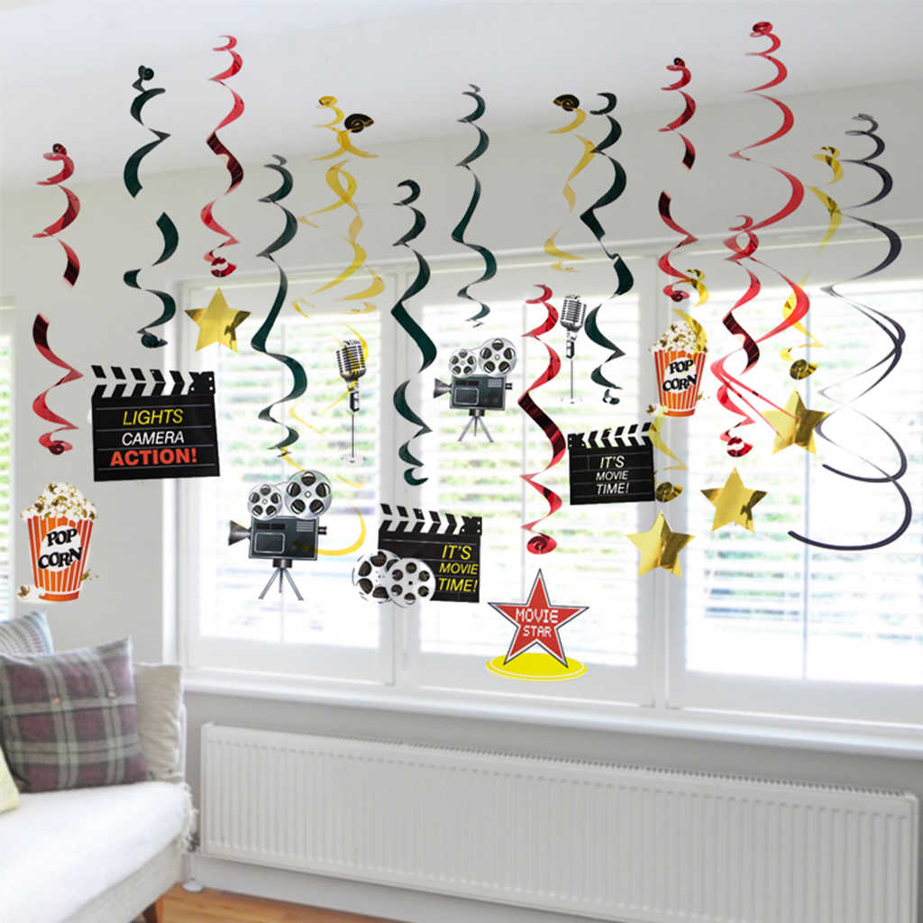 30pcs Pack Hollywood Movie Theme Hanging Swirl Birthday Spiral Ornament Hollywood Oscar Party Ceiling Diy Decorations