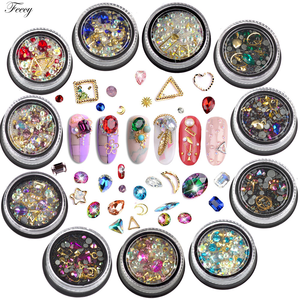 Mixed Color Nail Rhinestones Crystal Glitter Rhinestone For Nails Art Decorations Accessories 3D Beads Gems Jewelry Nail Stones