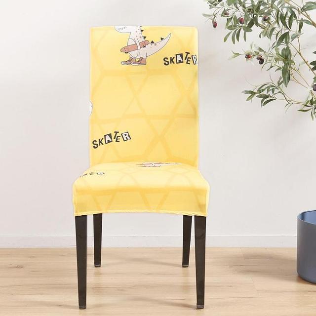 4 piezas de funda silla extraíble Impresión Digital elástico Slipcovers  corto comedor asiento banquete Hotel Decoración