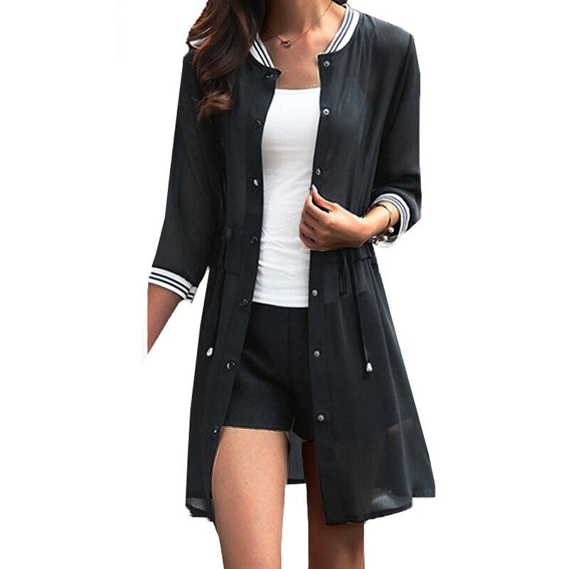 Kimonos für Frauen 2019 Sommer Damen Chiffon Strickjacken Weibliche Casual Blusen Baseball Jacken Vintage Jaqueta Feminina Casaco