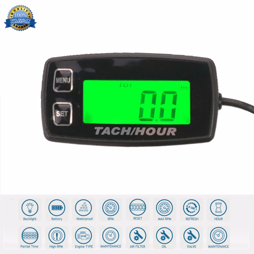 RL-HM035R Backlight high quality Hour Meter Tachometer RPM METER For ATV Tractor Generator lawn Mower Pit bike outboard MARINE waterproof digital lcd counter hour meter for dirt quad bike atv motorcycle snowmobile jet ski boat pit bike motorbike marine