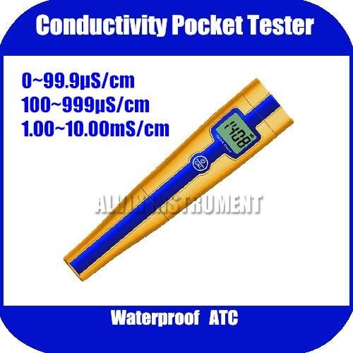 Free Shipping Conductivity Pocket Tester METER Analyzer Range:0~99.9uS;100~999uS;1.00~10.00mS Accuracy:+/- 1%FS free shipping online conductivity monitor tester meter analyzer 0 2000us cm error 2